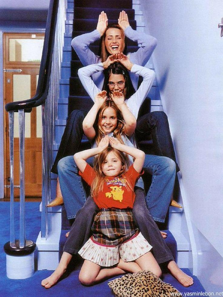Yasmin, Amber, Saffron & Tallulah Le Bon on stairs