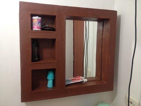Tutorial: como hacer mueble de carton espejo organizador para baño o habitacion DIY - YouTube