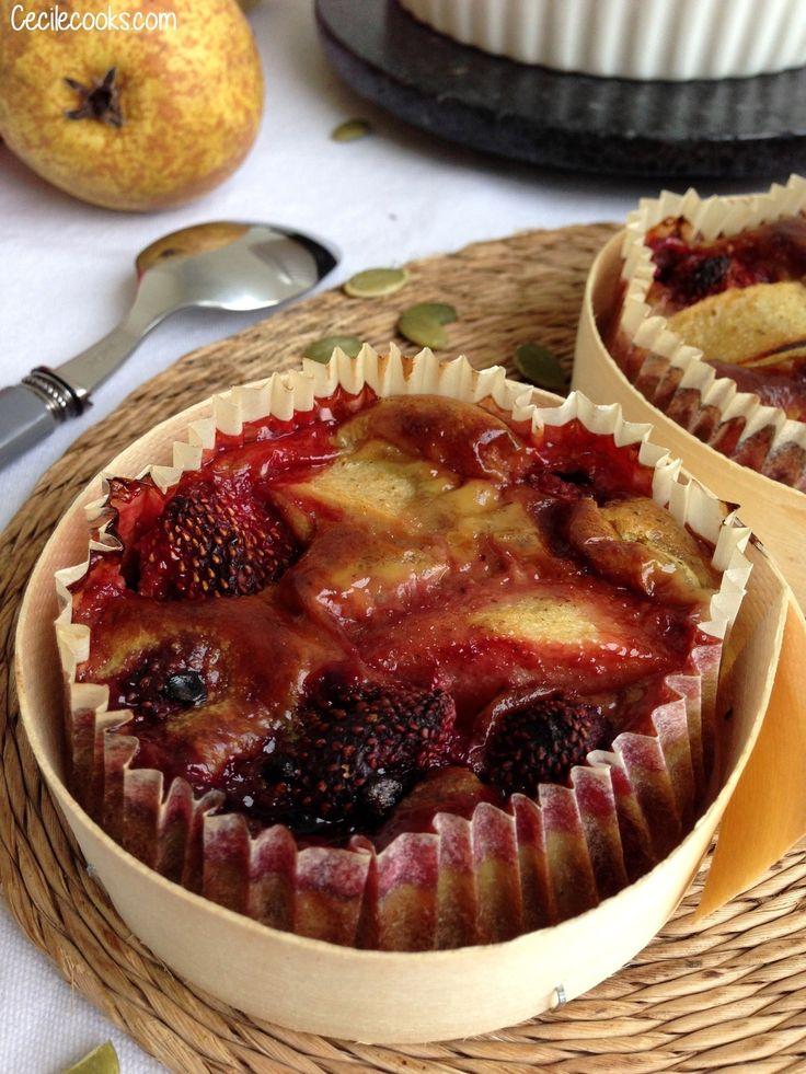 Clafoutis poire, fraise et purée de graines de courge, selon A. Ducasse #sansgluten - Cecilecooks