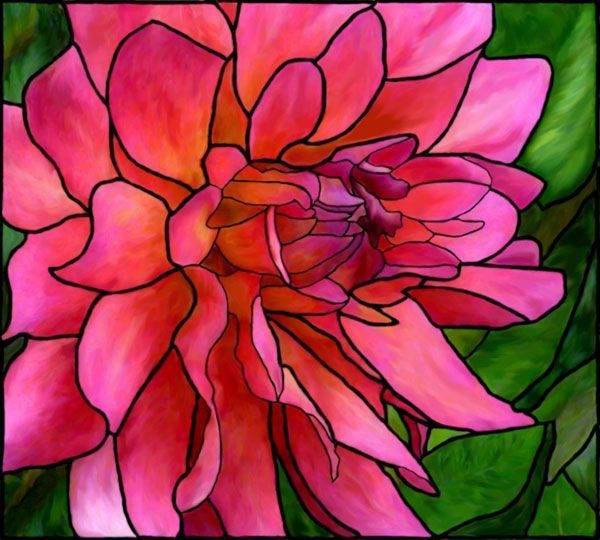 Stained Glass Pink Dahlia                                                                                                                                                                                 More