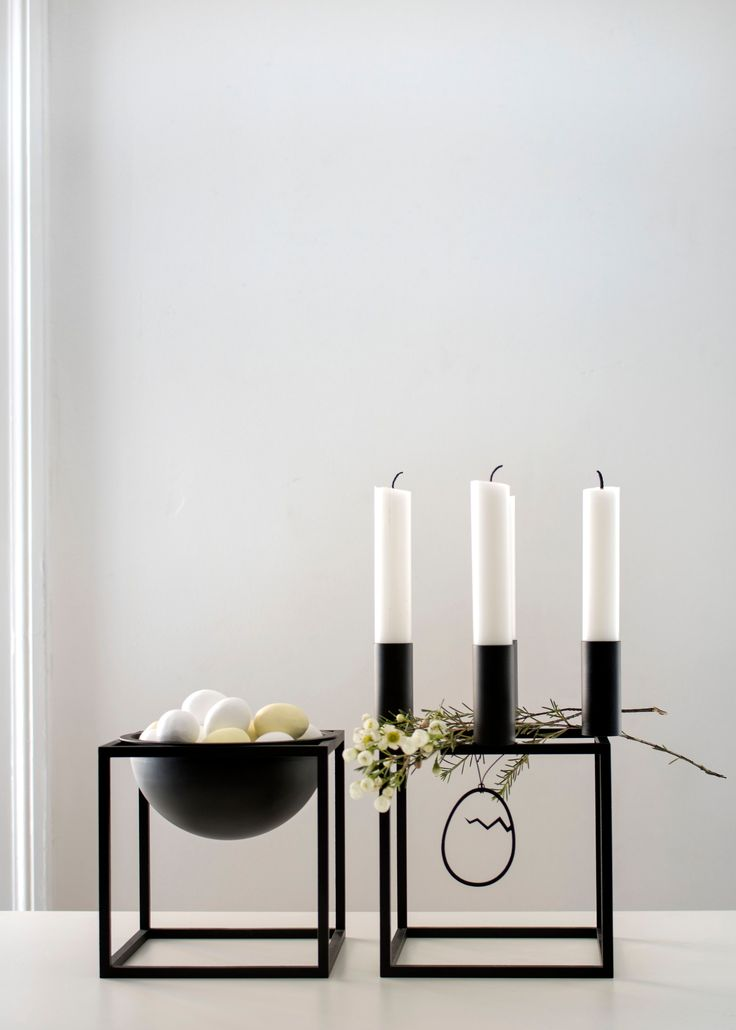 Kubus Bowl and Kubus 4 candleholder in black.