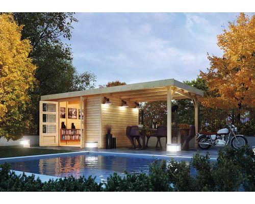 Wow, ein starkes Stück! Das #Gartenhaus mit Schleppdach kann auch als Poolhaus durchgehen. Die #Doppelflügeltür und das Holz der nordischen Fichte sorgen für ein natürliches Flair.