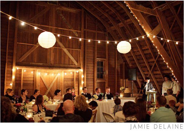 Saar Banks Farm Wedding Lanterns String Lights Barn Reception Venue