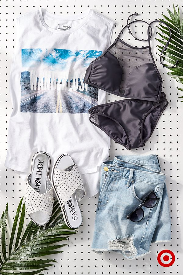 It's easy to combine all of your summer favorites, like graphic tees, cutoff shorts, sandals and cool mesh bathing suits, into a look that's undeniably summer-ready. They're great pieces for laid-back weekend getaways or trips to the beach.