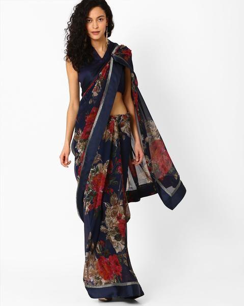 Designer Floral Print Georgette Saree Multicolored Designer Sari