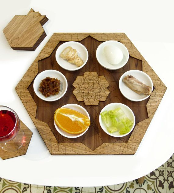 Passover Seder plate and Set of 6 pomegranate by StudioArmadillo