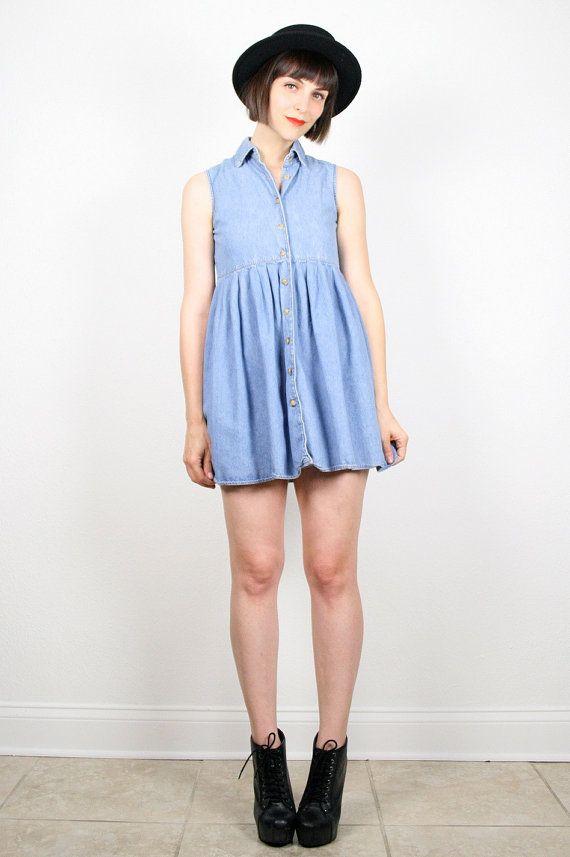 Vintage 90s Dress Denim Dress Chambray Blue Micro Mini Dress 1990s Dress Soft Grunge Dress Babydoll Dress Sundress Shirt XS S Extra Small #vintage #softgrunge #90s #1990s #denim #chambray #mini #babydoll #dress #grunge by ShopTwitchVintage