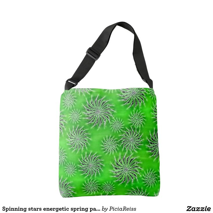 Spinning stars energetic spring pattern green tote