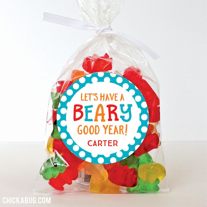"""Let's Have a Beary Good Year"" Back to School Stickers - Sheet of 12 or 24 - Send your kids to school with an great Gummi Bear treat! Pair these stickers with clear cello bags and some Gummi Bears for a sweet first day surprise!"