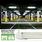 10 PACK – T8 LED Tube Light 4ft 48″, 18W, 4000K Kelvin (Cool White), 2,000 Lumens, Works WITH or without a Ballast! Fluorescent Replacement Light Lamp, Clear Cover, UL, ETL, DLC. Plug and Play