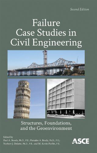 Failure Case Studies in Civil Engineering: Structures, Foundations, and the Geoenvironment by Paul A. Bosela. Provides short descriptions of 50 real-world examples of constructed works that did not perform as intended. Designed for classroom use, each case study contains a brief summary, lessons learned, and references to key sources.