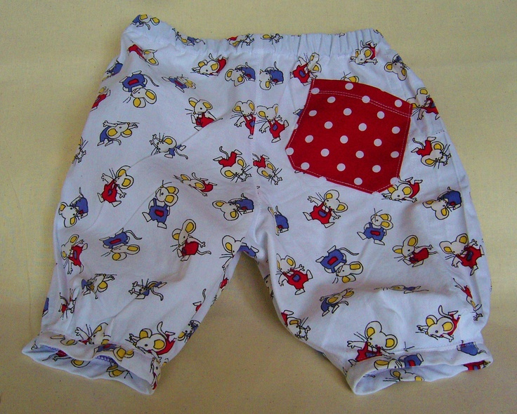 Cute baby trousers with little mice and a dotted pocket