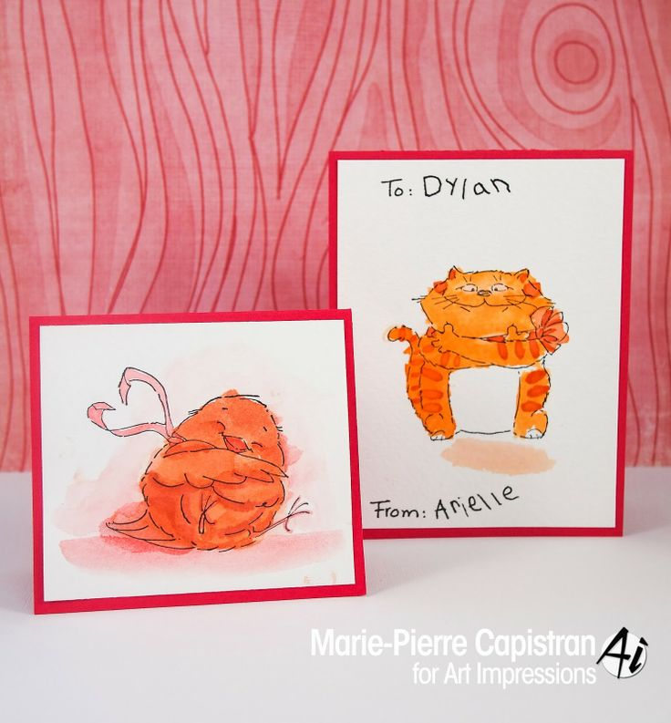 Art Impressions Rubber Stamps Valentine's Day cards for school. Has Hugs set and Tweetheart set. Bird and cat.