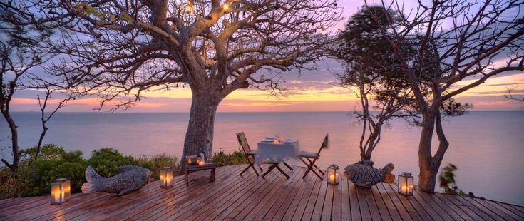 It doesn't get much more romantic than this! Private sunset dinner at Azura Quilalea Private Island Lodge in Mozambique.