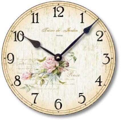 Item C2001 Vintage Shabby Chic Style Roses Clock (10.5 Inch Diameter)