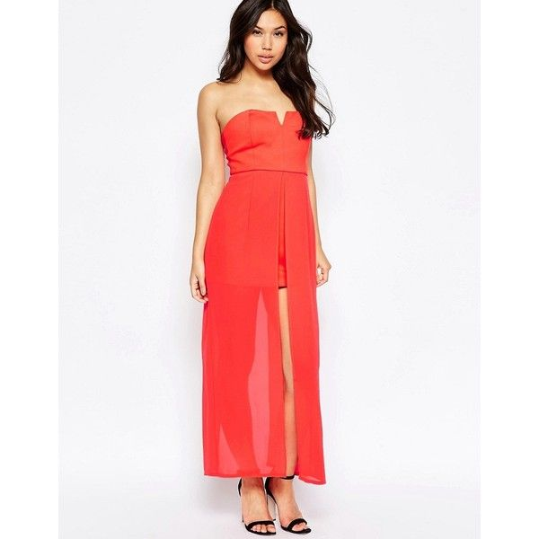 Jovonna Nico Dress With Maxi Overlay ($19) ❤ liked on Polyvore featuring dresses, red, white sweetheart dress, red chiffon dress, sweetheart dress, tall dresses and bandeau maxi dresses