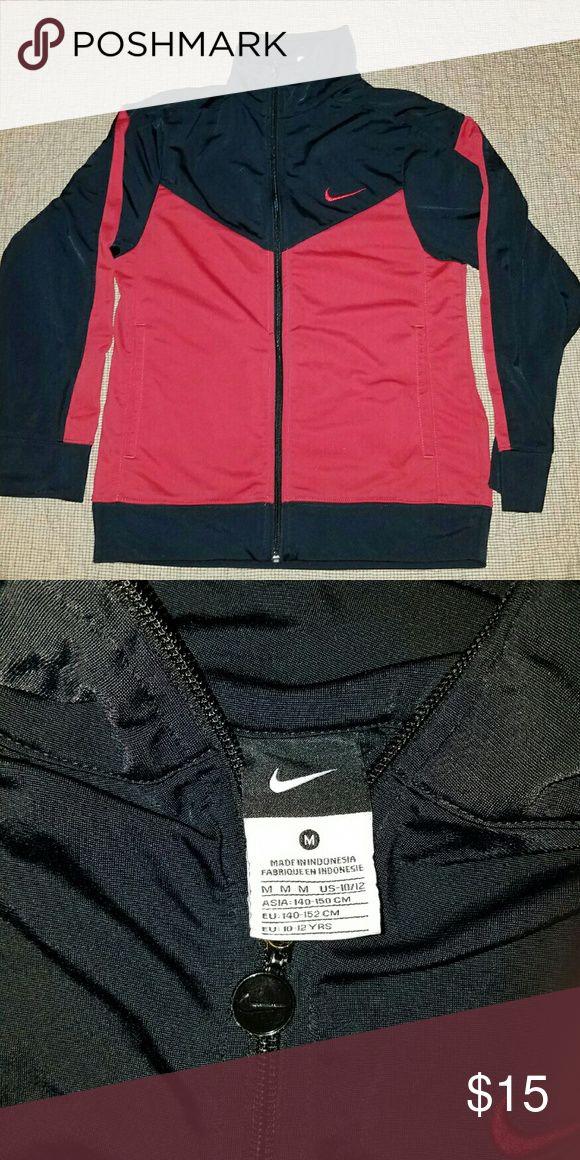 Black & red Nike jacket Gently used black & red youth Nike jacket - medium 10-12.  Smoke free home. Nike Jackets & Coats