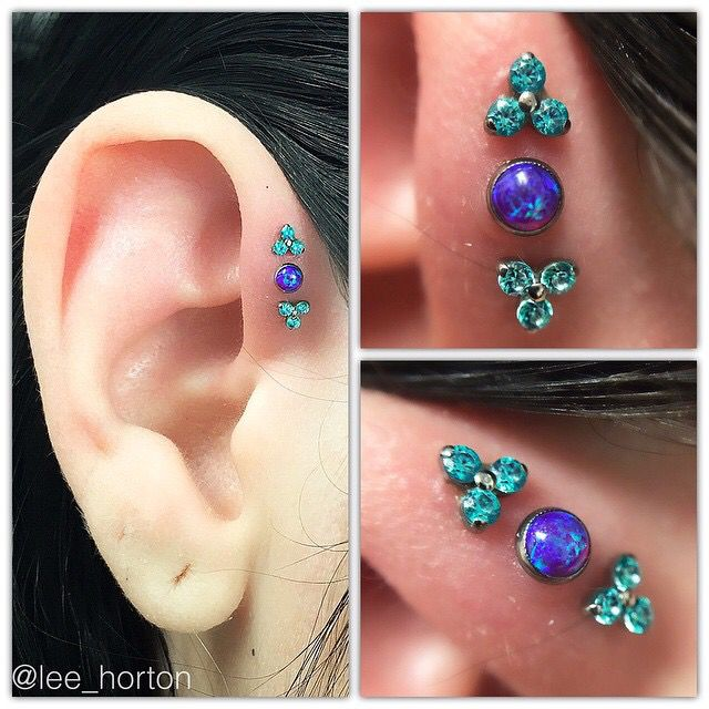 Triple forward helix jewelry by neometal Pierced at Legacy Tattoo London Ontario