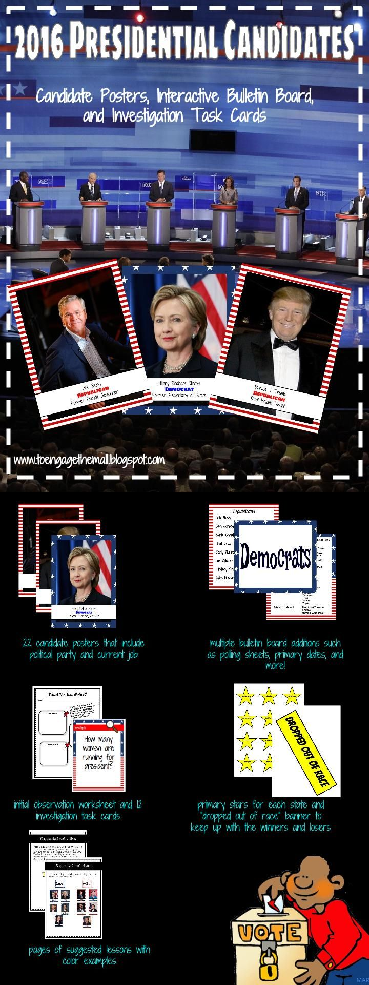 Election year can be very exciting! This activity pack allows you and your students to experience and interact with the Democratic and Republican candidates as well as track them through the primaries.