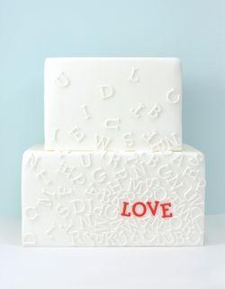 typographic love cake, lovely