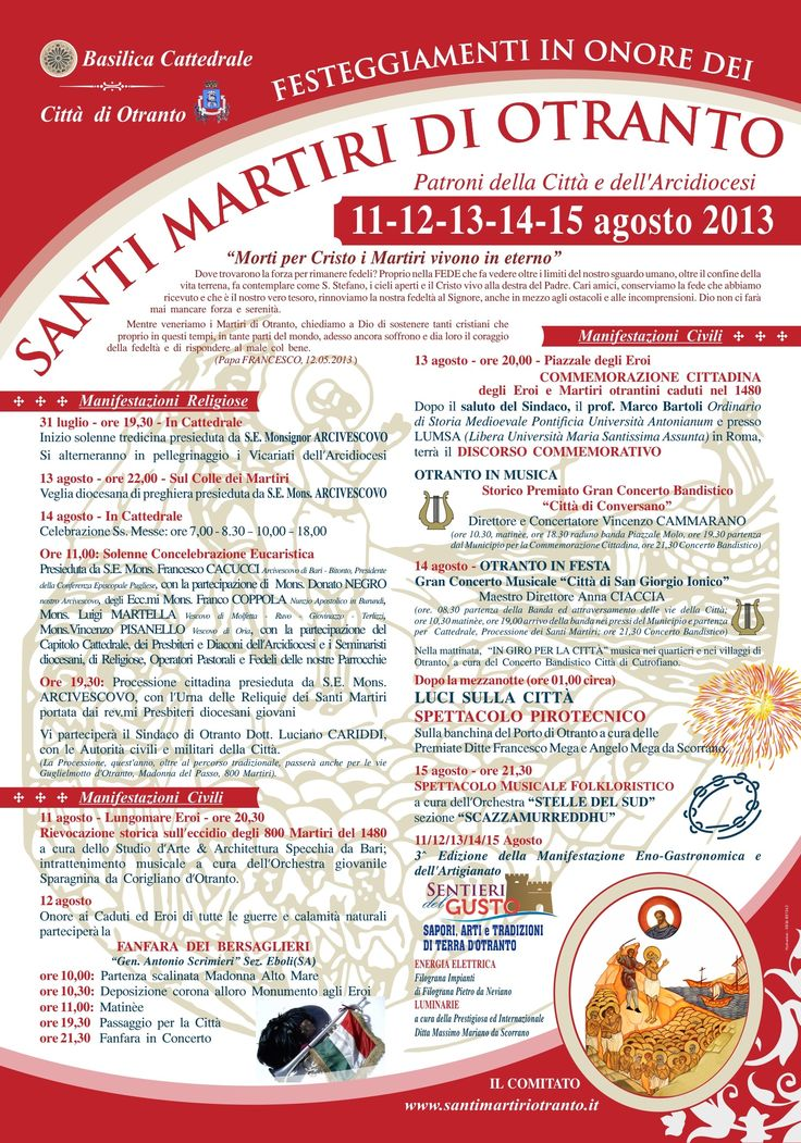 #Otranto, dall'11 al 15 agosto, Festeggiamenti in onore dei Santi Martiri di Otranto.