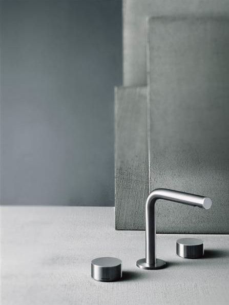 About Water Fukasawa basin mixer # AF/21 93 A204WF 3-Hole washbasin mixer in Brushed stainless steel # About Water bathroom taps is a collaboration between Fantini and Boffi # Naoto Fukasawa is the designer of this modern bathroom tap collection # Fukasawa bathroom taps are available at inoxtaps.com and the shop in Ibiza