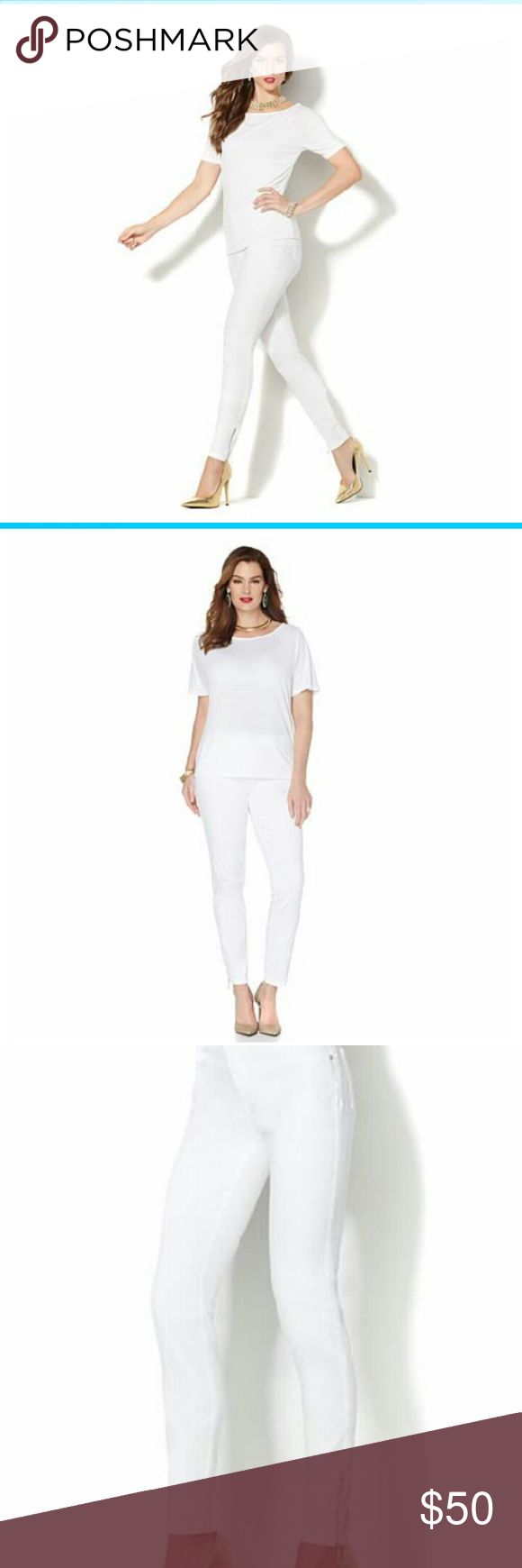 IMAN White Jean Outfit  (T-shirt & Jeans) IMAN White Jean with Ankle Zipper Outfit shirt size L jeans size 14short IMAN Jeans Skinny