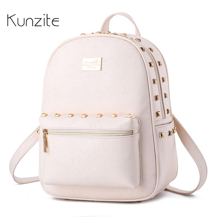 Kunzite Famous Brand Backpack 2017 Casual Women Pu Leather Girls School Bags  for Teenage High Quality 7774c258cbcc4