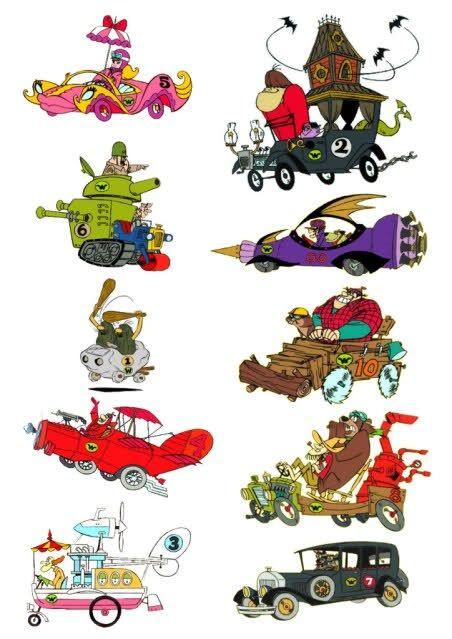 Wacky Races - Le corse pazze - la Macigno-Mobile dei fratelli Slag,  il Diabolico Coupé di Big e Little Gruesome, la Multiuso del professor Pat Pending, la Crimson Haybaler di Red Max, la Macchina Antiproiettile della Banda del Formicaio, l'Insetto Scoppiettante del montanaro Luke e dell'orso Blubber, la Sei Cilindri (o Turbo Perfect) di Peter Perfect, la Spaccatutto di Rufus Roughcut (affiancato dal castoro Sawtooth), la 00 di Dick Dastardly e Muttley.
