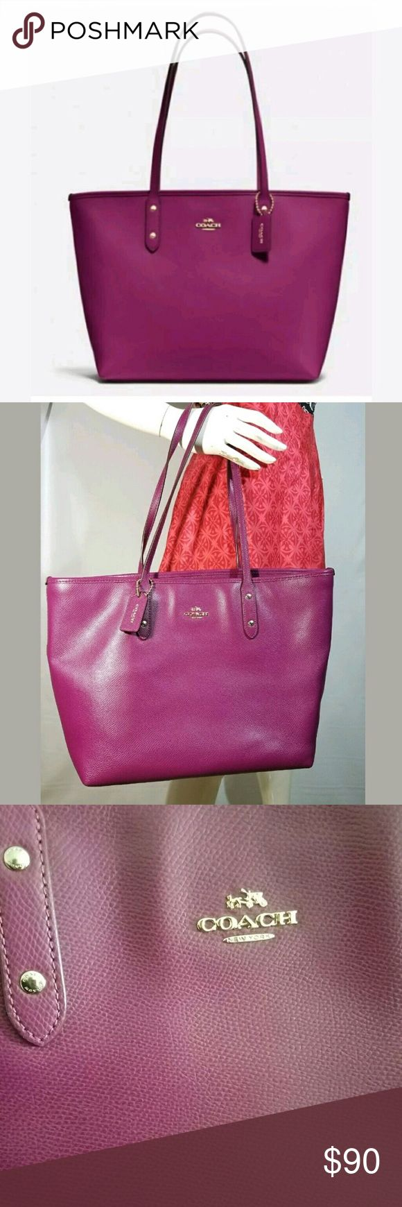 "Coach City Zip Leather Fuchsia Tote 👜 💜 Crossgrain leather Inside zip, cell phone and multifunction pockets Zip-top closure, fabric lining Handles with 9 1/2"" drop 11 3/4"" (L) x 10 1/2"" (H) x 5 1/2"" (W) Gold hardware   Used only a couple/few times and in perfect condition. A great little purple/dark fuchsia buy!😍💜👜 Coach Bags Totes"