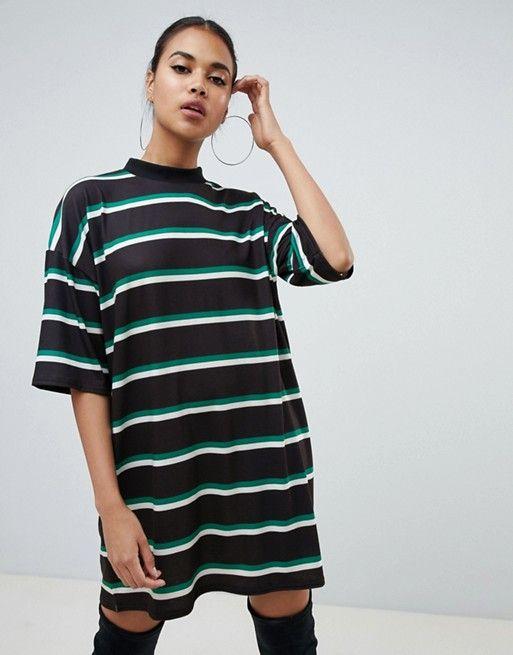 7a2f355a6fd2 PrettyLittleThing oversized t-shirt dress in multi stripe