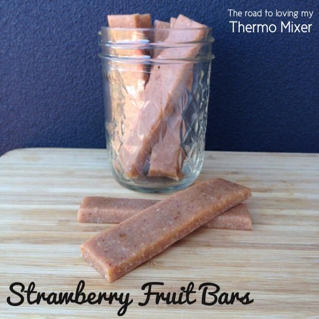 Strawberry Fruit Bars 200g dried strawberries, see note 50g pitted dates 80g dessicated coconut