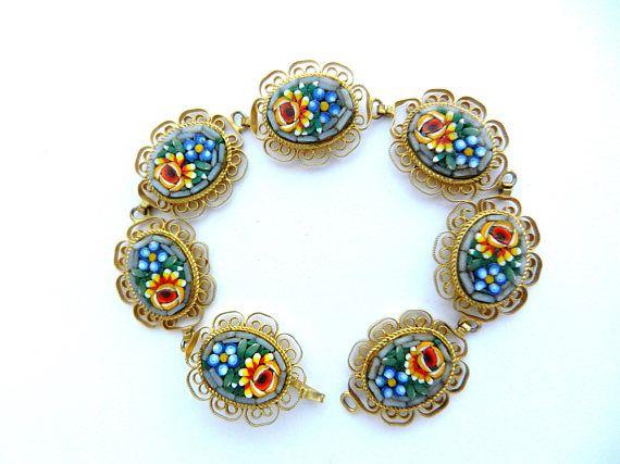 Vintage 1950s fabulous oval links micro mosaic bracelet