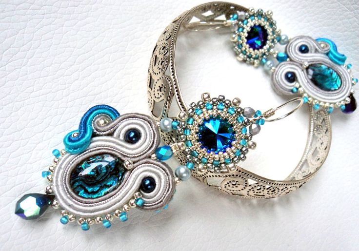 Earrings soutache + beading - Sparkle 01 w VAKARAS Jewellery by Slomkad na DaWanda.com