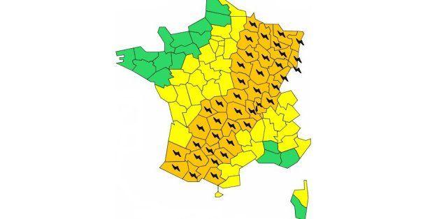 """40 départements en vigilance orange """"orages"""""""