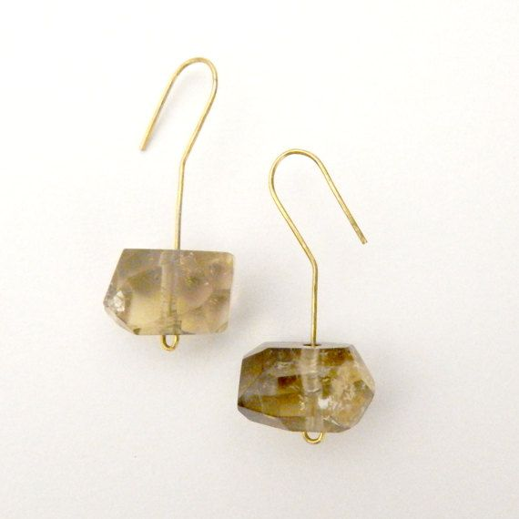 Faceted citrine earrings Rough citrine earrings by TheEmbellish