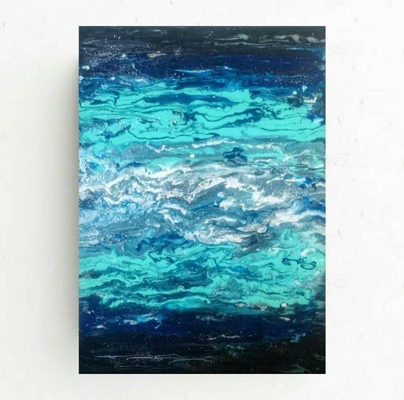 Free shippingAbstract original ocean paintingblue