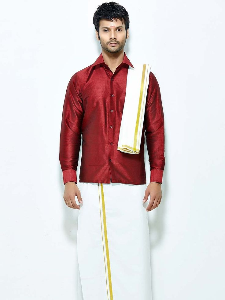 Remarkable raw #Silk #Shirt in maroon color paired with white color cotton dhoti. Item Code : SCU12002-16 http://www.bharatplaza.com/new-arrivals/south-indian-mens-wear.html