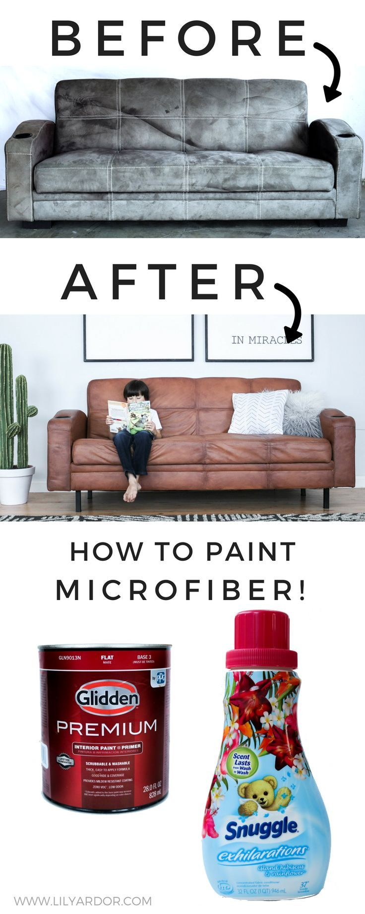 How To Paint Your Microfiber Couch To Look Like Real Leather Lily Ardor Fabric Paint Painted Couch Couch Fabric Painting Fabric Chairs
