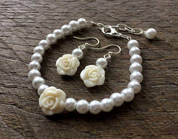 Wedding Jewelry Bridal Party Single Strand Purple Flower Girl Jewelry Rose Simple Pearl Jewelry Pearl Earrings Pearl Bracelet