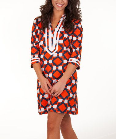 Take a look at this Navy & Orange Rita Shift Dress by Tracy Negoshian on #zulily today! (perf for Auburn game day!)