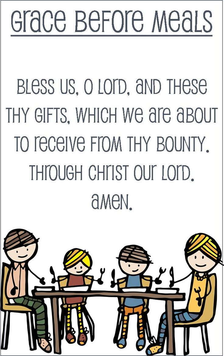 Grace Before Meals prayer card for kids (half sheet size)