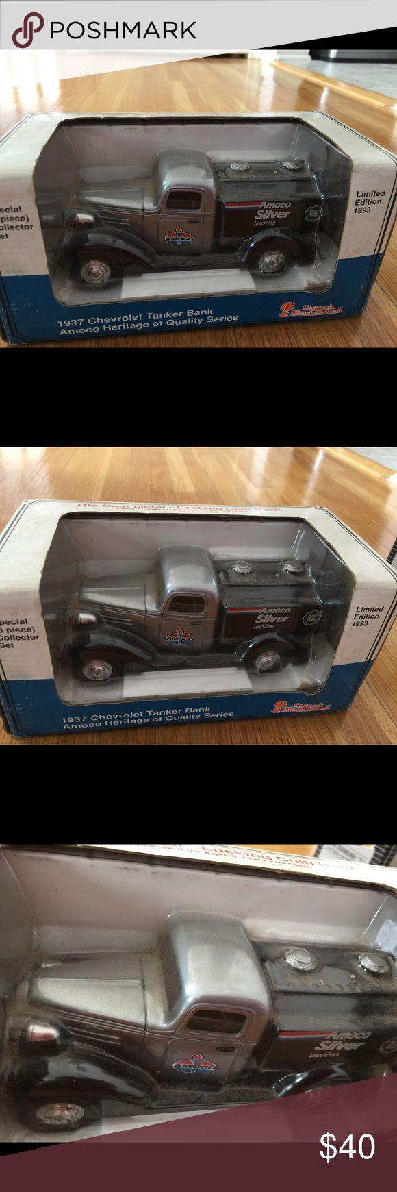"""CHEVROLET  DIE CAST METAL LOCKING COIN BANK CHILDREN""""S MIRACLE NETWORK!1937 CHEVROLET TANKER BANK AMOCO HERITAGE OF QALITY SERIES  DIE CAST METAL LIMITED EDITION1993. PREOWNED Its good condition bay has shelf wear from years of storage production. DIE CAST Other"""