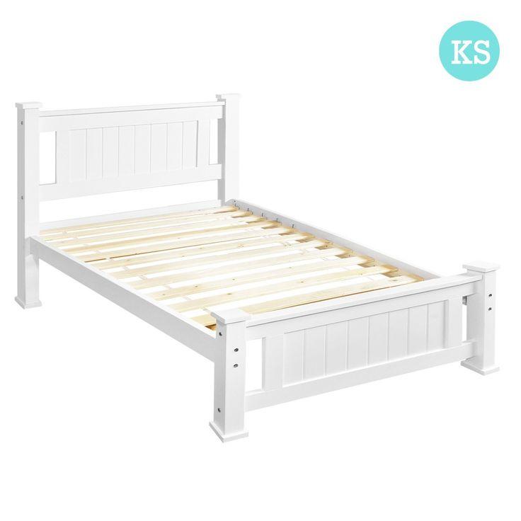 King Single Bed Frame Pine Wood Timber w/ Slats