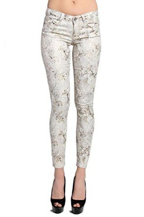 TheMogan Women's Metallic Snake Printed 5 Pocket Coated Skinny Jeans