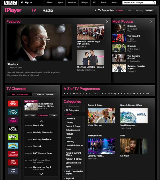 Fight Club! BBC iPlayer, ITV Player, 4oD and Demand 5: a UX comparison | Econsultancy