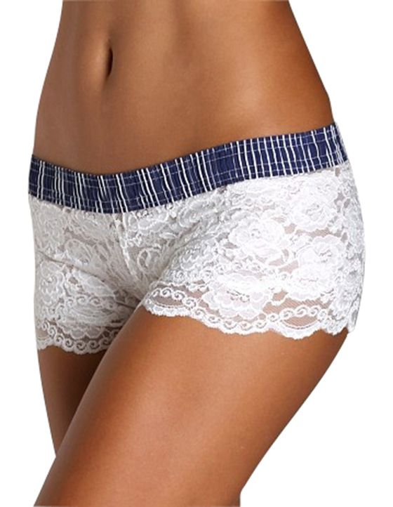 FOXERS White Lace Boxers with Navy Stripe waistband.  Something blue for the bride.