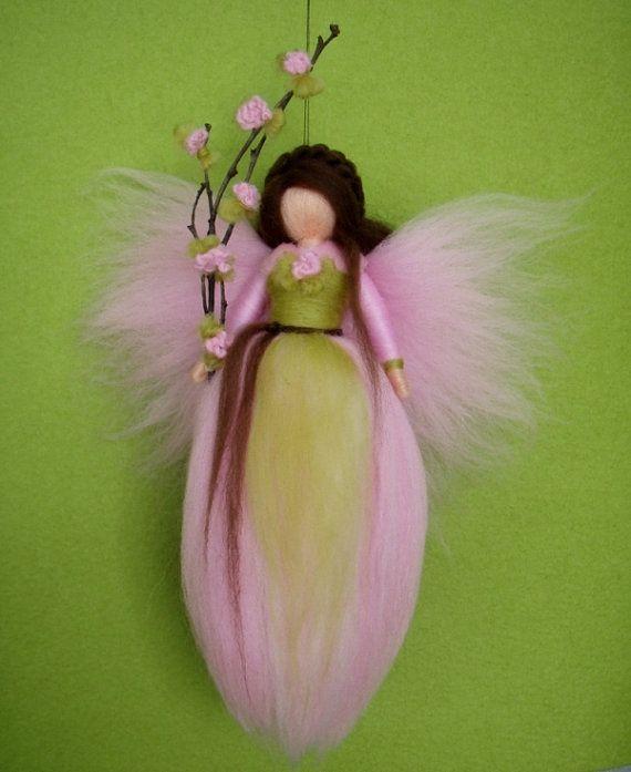 Needle Felted Wool Fairy Doll Angel Spring Apple by Holichsmir