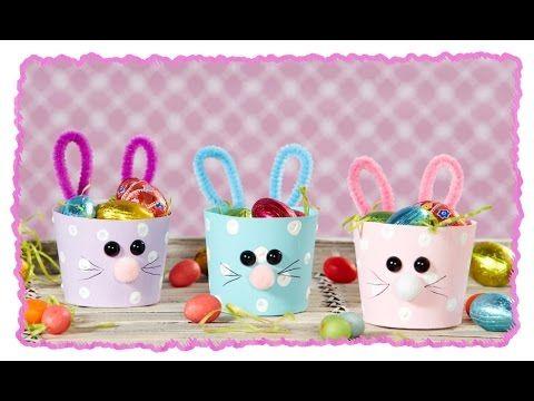 Osterhasen-Körbchen aus Pappbechern, Basteln mit Kindern - YouTube