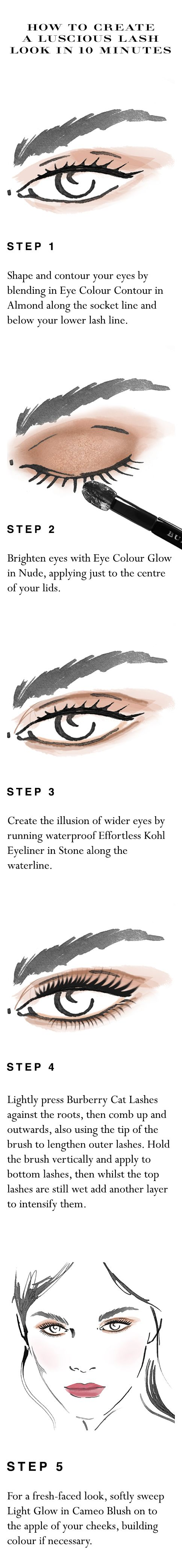 Your easy to follow make-up 'how to' for luscious lashes in 10 minutes. Shop the complete look at Sephora.com and explore new Burberry Cat Lashes.